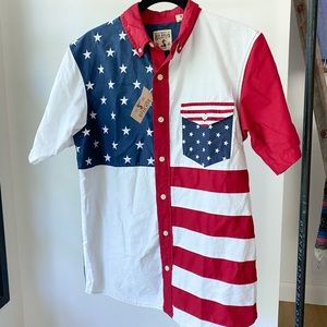 """RED HEAD """"merica"""" American flag button up shirt"""